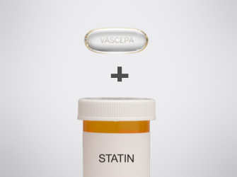 Clear VASCEPA® (icosapent ethyl) capsule and a pill bottle of statins